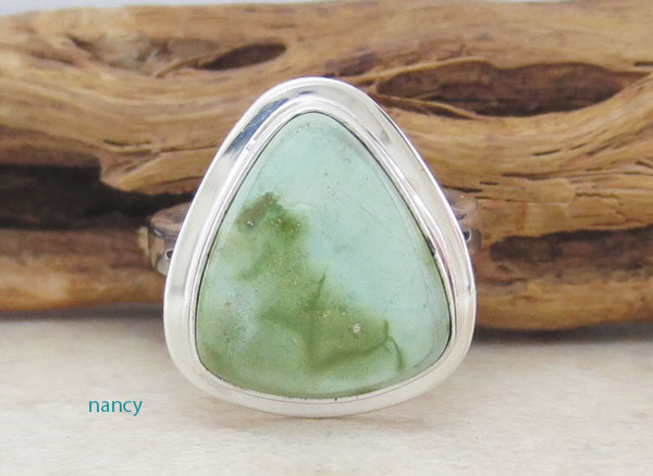 Image 1 of  Green Turquoise & Sterling Silver Ring Size 6 Navajo Jewelry- 2137sn