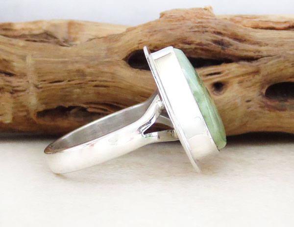 Image 2 of  Green Turquoise & Sterling Silver Ring Size 6 Navajo Jewelry- 2137sn