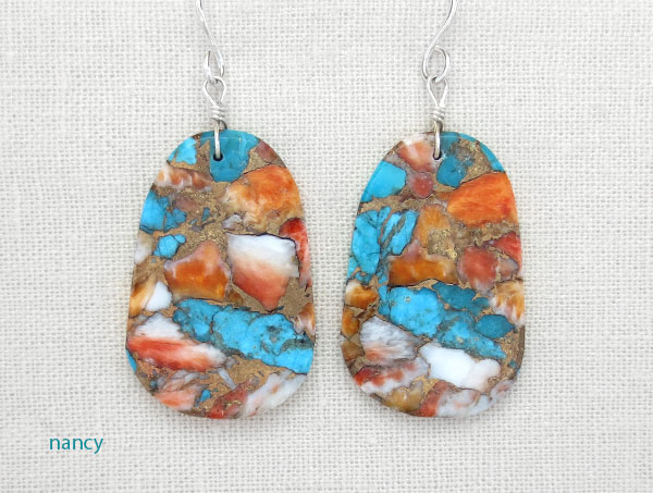 Image 0 of     Turquoise & Spiny Oyster Slab Earrings Native American Jewelry - 4879pl