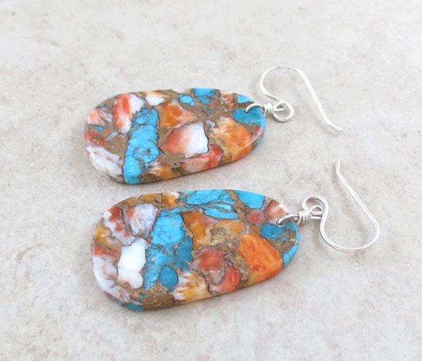 Image 1 of     Turquoise & Spiny Oyster Slab Earrings Native American Jewelry - 4879pl