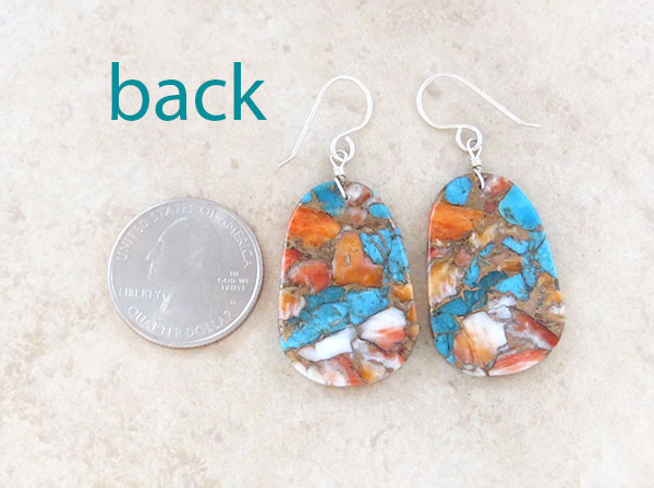 Image 2 of     Turquoise & Spiny Oyster Slab Earrings Native American Jewelry - 4879pl