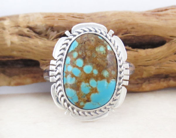 Native American #8 Mine Turquoise & Sterling Silver Ring Sz 8.75 - 4885sn