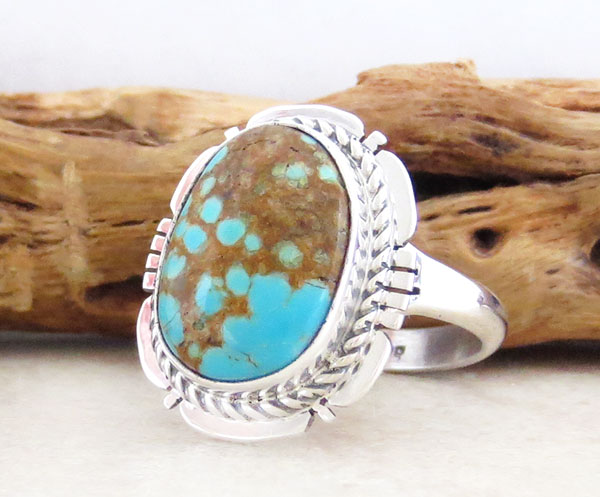 Image 3 of    Native American #8 Mine Turquoise & Sterling Silver Ring Sz 8.75 - 4885sn