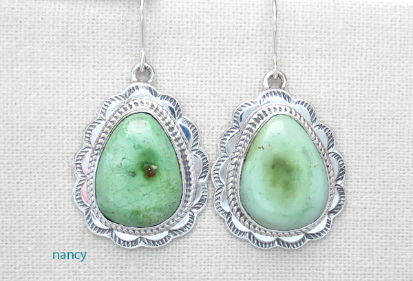 Green Turquoise & Sterling Silver Earrings Native American Made - 4735sn