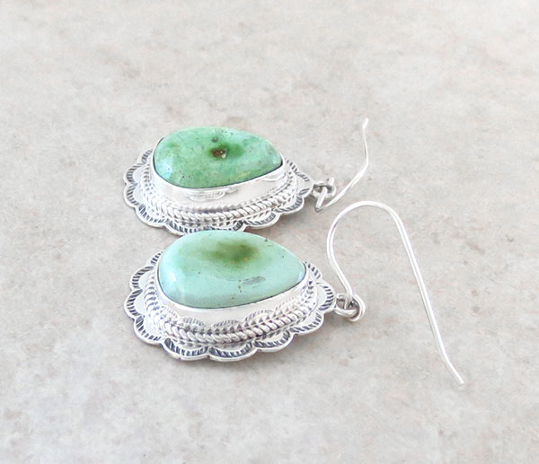 Image 1 of Green Turquoise & Sterling Silver Earrings Native American Made - 4735sn