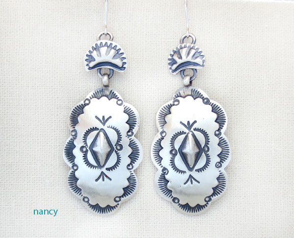 Image 0 of    Handcrafted Stamped Sterling Silver Earrings Native American Made - 4886sn