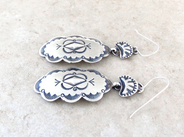 Image 1 of    Handcrafted Stamped Sterling Silver Earrings Native American Made - 4886sn
