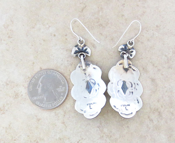 Image 2 of    Handcrafted Stamped Sterling Silver Earrings Native American Made - 4886sn
