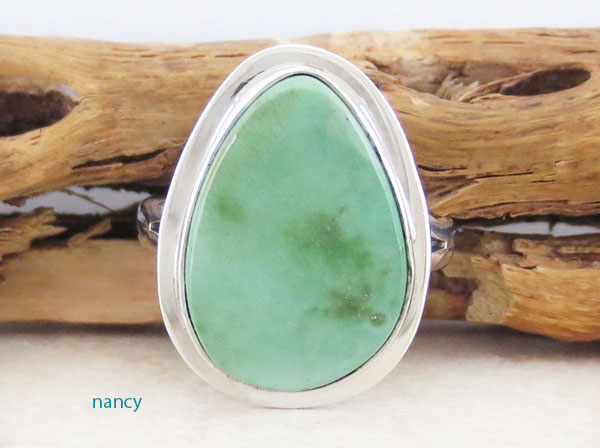 Green Turquoise & Sterling Silver Ring Size 7 Navajo Made - 1609sn