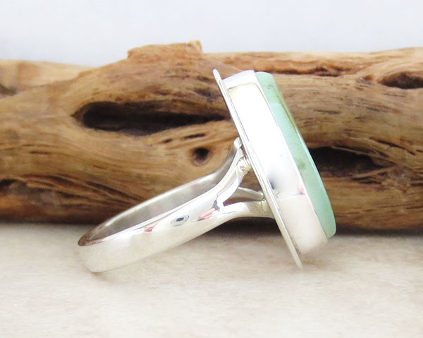 Image 2 of Green Turquoise & Sterling Silver Ring Size 7 Navajo Made - 1609sn