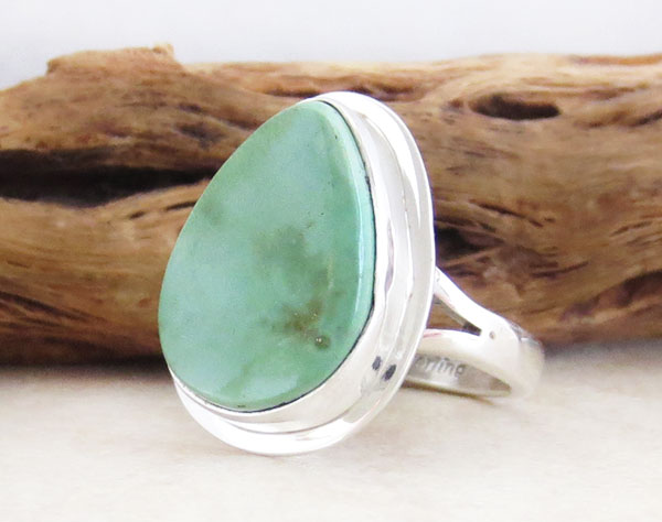 Image 3 of Green Turquoise & Sterling Silver Ring Size 7 Navajo Made - 1609sn