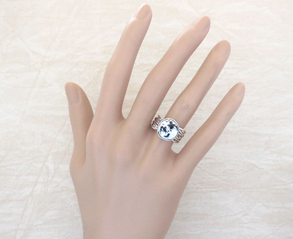 Image 1 of Navajo Made White Buffalo Stone & Sterling Silver Ring Size 7.5 - 1125sn