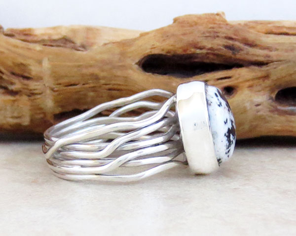 Image 2 of Navajo Made White Buffalo Stone & Sterling Silver Ring Size 7.5 - 1125sn