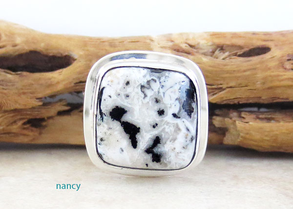 Native American White Buffalo Stone & Sterling Silver Ring Size 8 - 4568sn
