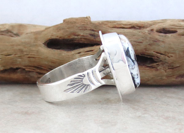 Image 2 of       Native American White Buffalo Stone & Sterling Silver Ring Size 8 - 4568sn
