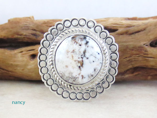 Image 0 of    Native American White Buffalo Stone & Sterling Silver Ring Size 6 - 2138sn