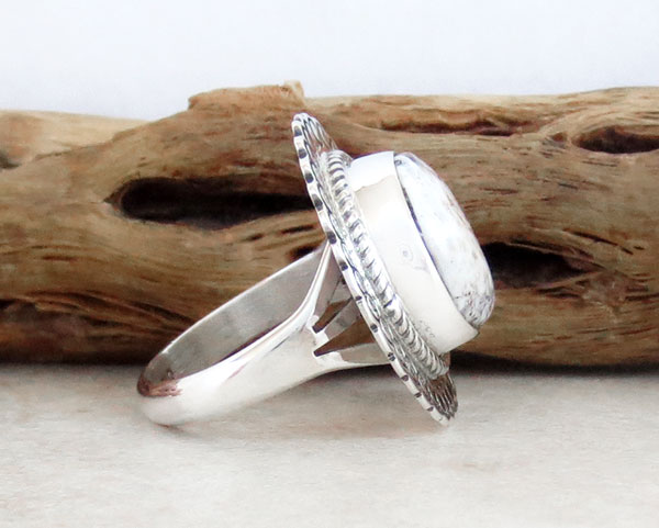 Image 2 of    Native American White Buffalo Stone & Sterling Silver Ring Size 6 - 2138sn