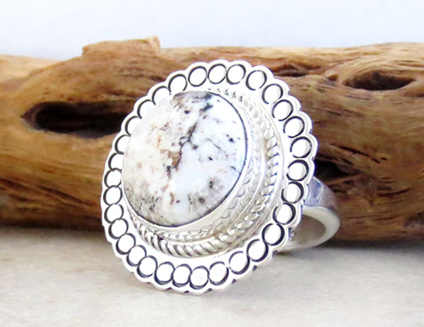 Image 3 of    Native American White Buffalo Stone & Sterling Silver Ring Size 6 - 2138sn