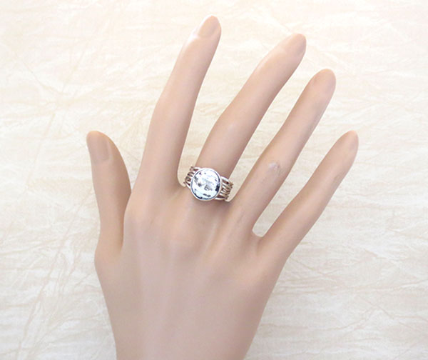 Image 0 of Sacred White Buffalo Stone & Sterling Silver Ring Size 6 Navajo- 4736sn