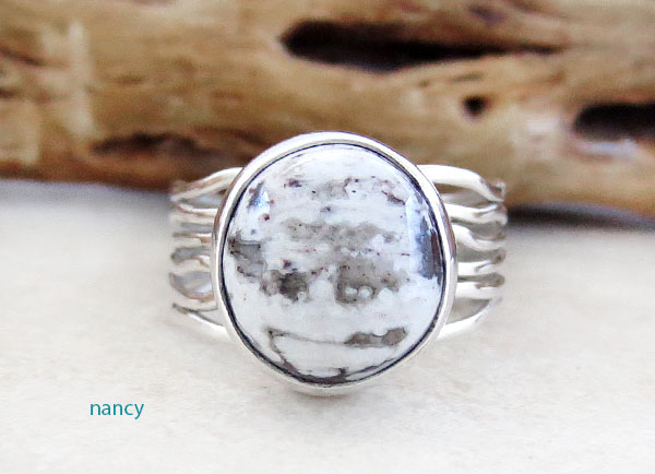 Image 1 of Sacred White Buffalo Stone & Sterling Silver Ring Size 6 Navajo- 4736sn