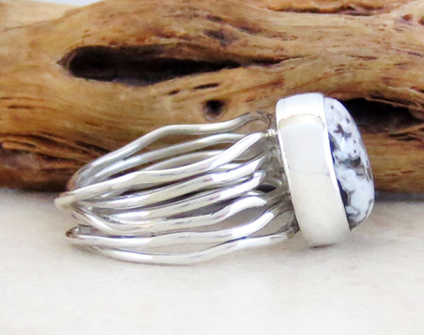 Image 2 of Sacred White Buffalo Stone & Sterling Silver Ring Size 6 Navajo- 4736sn