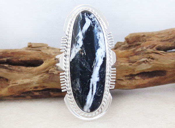 Image 1 of White Buffalo Stone & Sterling Silver Ring Size 9 Native American - 4887sn