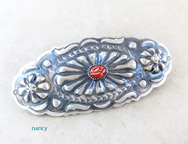BIG Handcrafted Repousse Barrette Native American Made Tim Yazzie - 4889rio