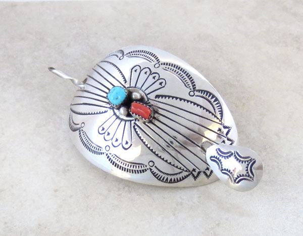 Image 1 of Sterling Silver Pony Tail Holder Stick Barrette Native American - 2159rio