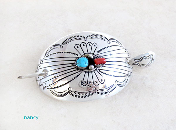 Image 0 of Sterling Silver Pony Tail Holder Stick Barrette Native American - 2159rio