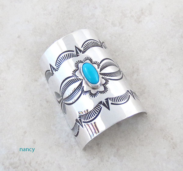 Image 0 of Turquoise & Stamped Sterling Silver Pony Tail Holder / Cover Navajo - 4571rio