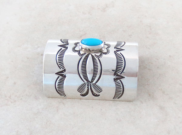Image 1 of Turquoise & Stamped Sterling Silver Pony Tail Holder / Cover Navajo - 4571rio