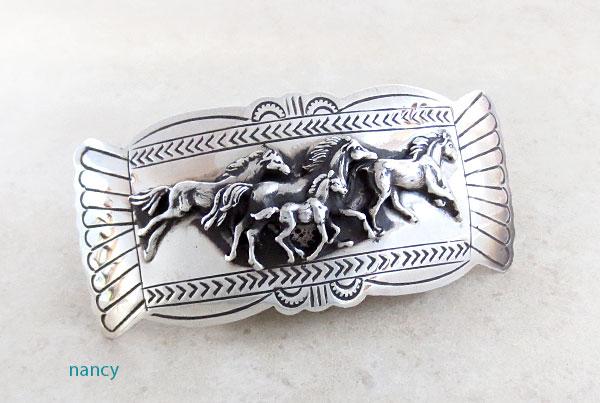 Carson Blackgoat Navajo Sterling Silver Running Horse Barrette - 2108rio