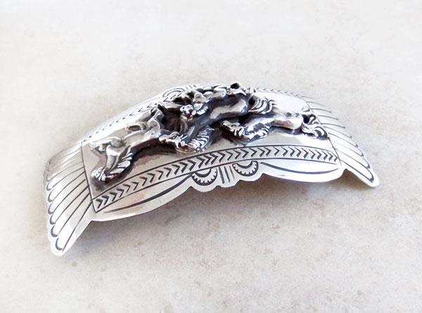 Image 1 of Carson Blackgoat Navajo Sterling Silver Running Horse Barrette - 2108rio
