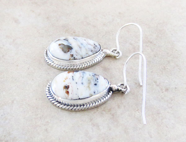 Image 1 of     White Buffalo Stone & Sterling Silver Earrings Native American Made - 4572sn