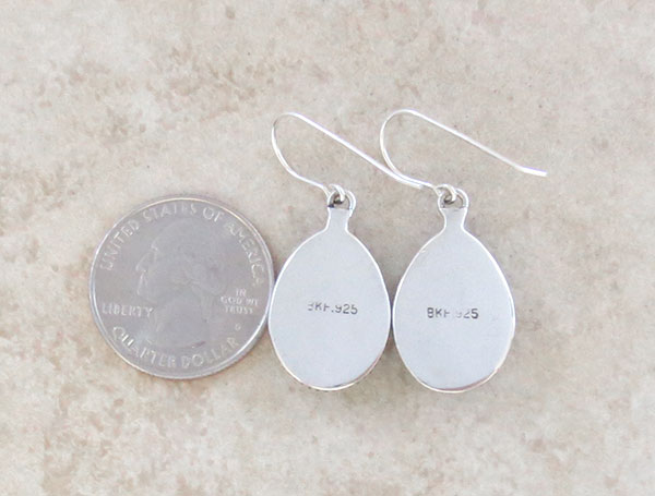 Image 2 of     White Buffalo Stone & Sterling Silver Earrings Native American Made - 4572sn