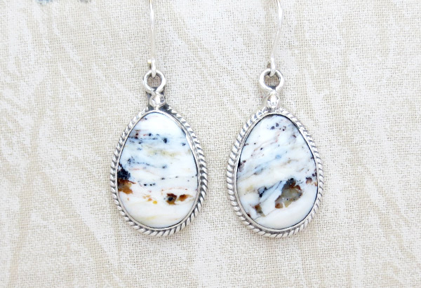 Image 0 of     White Buffalo Stone & Sterling Silver Earrings Native American Made - 4572sn