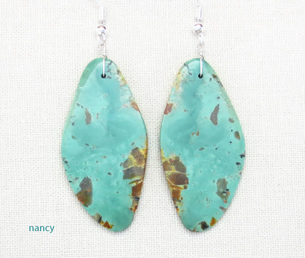 Big Turquoise Slab Earrings Native American Kewa - 2160rio