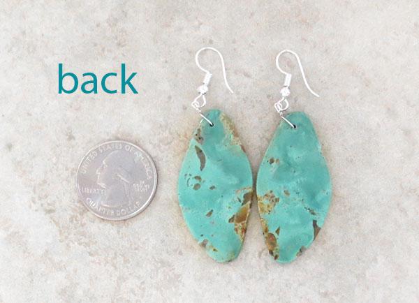 Image 2 of      Big Turquoise Slab Earrings Native American Kewa - 2160rio