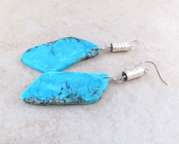 Image 1 of BIG Turquoise Slab Earrings Native American Kewa Jewelry - 4723rio