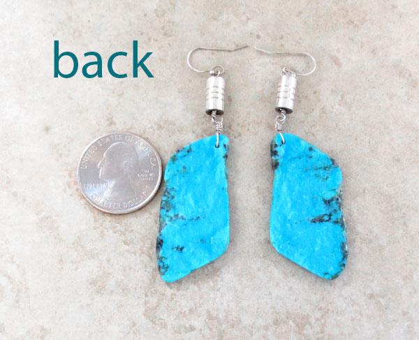 Image 2 of BIG Turquoise Slab Earrings Native American Kewa Jewelry - 4723rio