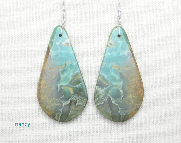 Sea Green Turquoise Slab Earrings Native American Kewa - 4890rio