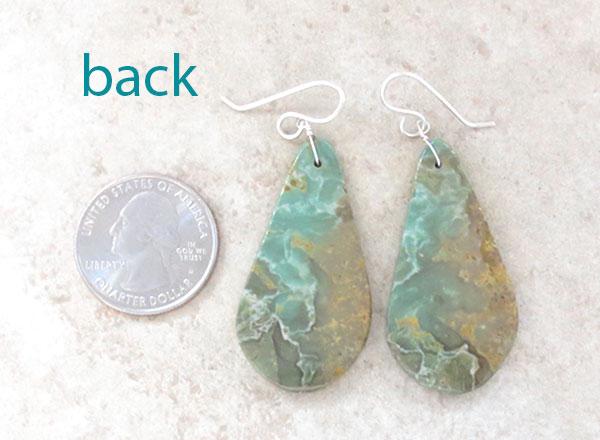 Image 2 of   Sea Green Turquoise Slab Earrings Native American Kewa - 4890rio