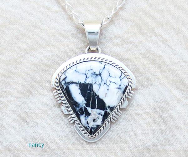 White Buffalo Stone & Sterling Silver Pendant Native American - 4893sn
