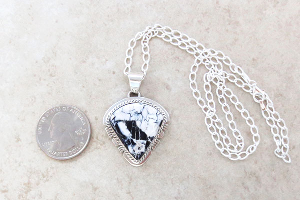Image 1 of  White Buffalo Stone & Sterling Silver Pendant Native American - 4893sn
