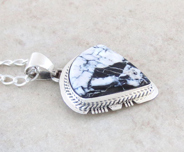 Image 2 of    White Buffalo Stone & Sterling Silver Pendant Native American - 4893sn