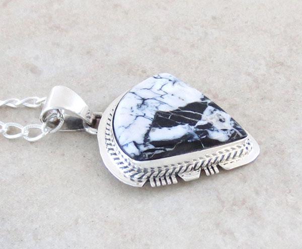 Image 2 of  White Buffalo Stone & Sterling Silver Pendant Native American - 4893sn