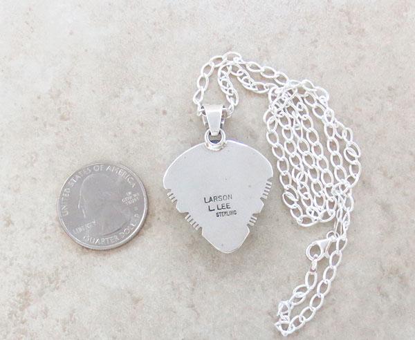 Image 3 of  White Buffalo Stone & Sterling Silver Pendant Native American - 4893sn