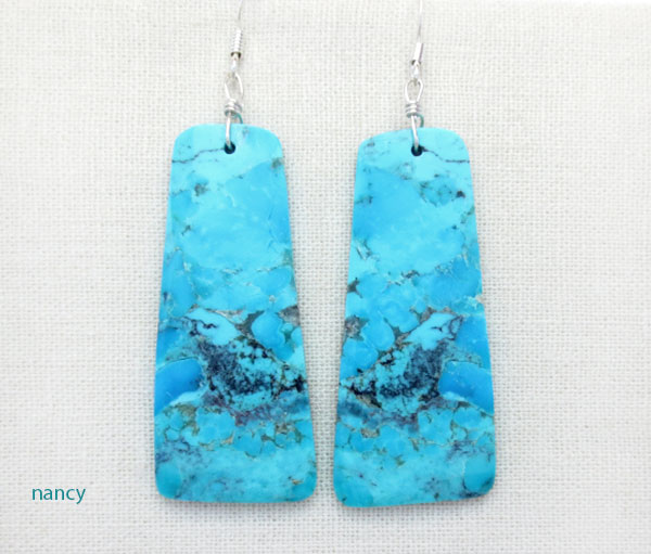Image 0 of  Large Turquoise Slab Earrings Native American Jewelry- 4892rio