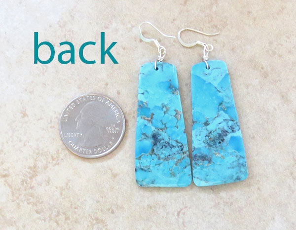 Image 2 of        Large Turquoise Slab Earrings Native American Jewelry- 4892rio