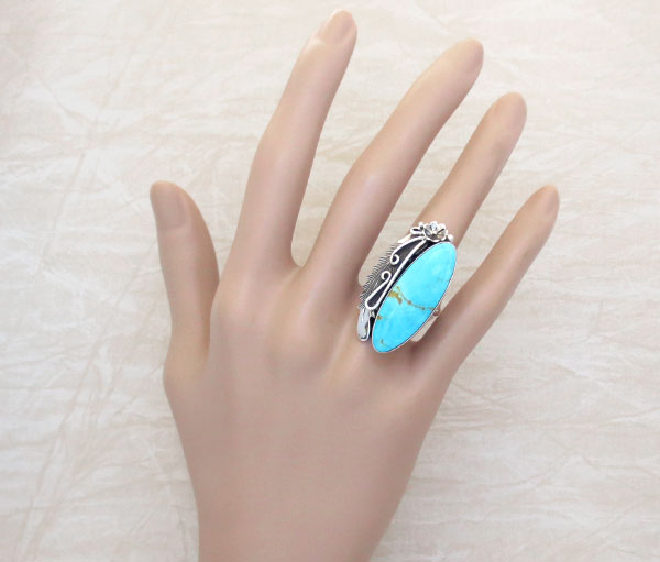 Native American Made Turquoise & Sterling Silver Ring Size 8.25 - 1249pl